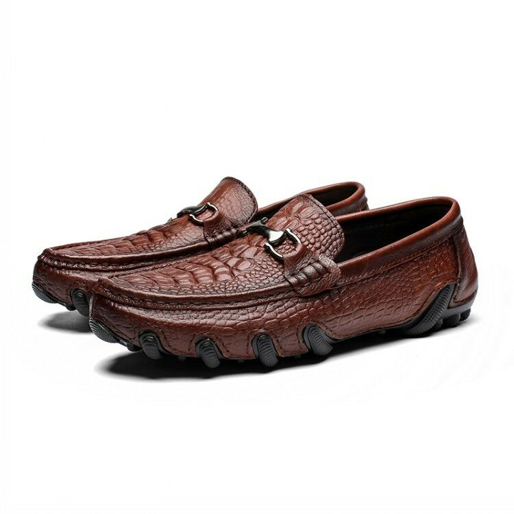 New Mens Leather Leather Leather Retro Loafers Driving Boats shoes Flats Crocodile Style Casual 8b00c2