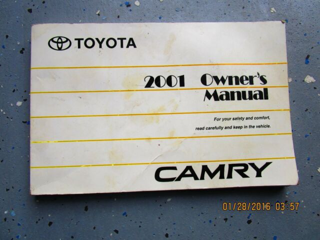 2001 toyota camry owners manual user guide reference operator book