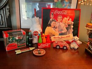 Coca-Cola-Collectibles-Lot-of-9-Items-Coca-Cola-Crayons-Vintage-Ornaments-Bundle
