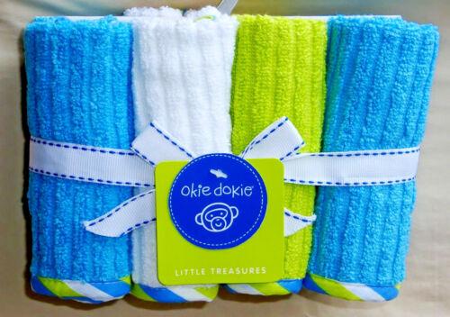 OKIE DOKIE 100/% COTTON 8 PACK BLUE-WHITE-LIME  WASHCLOTHS  NWT