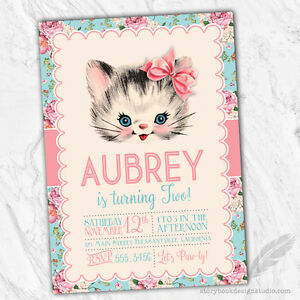 Kitten birthday party invitations kitty vintage floral baby shower image is loading kitten birthday party invitations kitty vintage floral baby filmwisefo