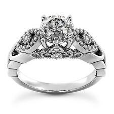 1 1/4 CT ROUND CUT DIAMOND D/SI2 ENGAGEMENT RING 14K WHITE GOLD ENHANCED
