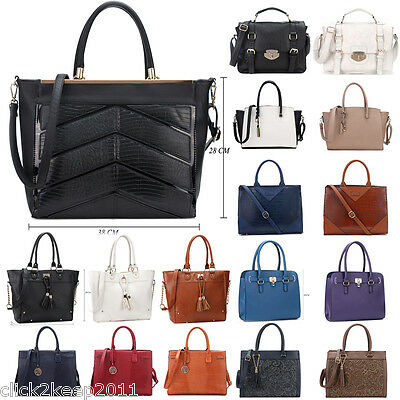 Womens Office Ladies Mock Croc Lace Tassel Faux Leather Handbag Tote Bag