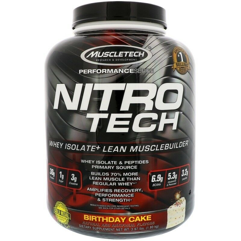 Muscletech Muscletech Muscletech Nitro Tech Whey Isolate + Lean Musclebuilder, Birthday Cake 3.97 lbs db9466