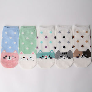 DOTTED-CAT-CARTOON-SOCKS-5-pairs-1pack-women-girl-cute-MADE-IN-KOREA-socks