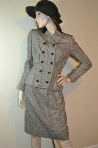 vtg 50s 60s RAUCH velvet silk wool HOURGLASS suit Military Blazer JACKET s m