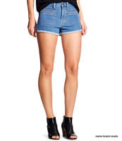 Mossimo High Rise Jean Shorts Womens 16 33 Faded Denim Wash Cuffed