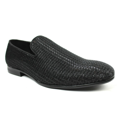 Slip On Black Glitter Smoking Loafers Tuxedo Casual Mens Dress Shoes BY  ROYL