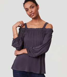30cb294beeadd NWT Ann Taylor LOFT Lacy Ruffle Off the shoulder blouse top blue XS ...