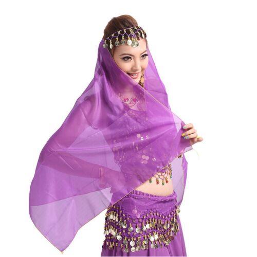 Belly Dance Chiffon Coins Face Veil Dancing Head Scarf Shawl Headpiece Costumes