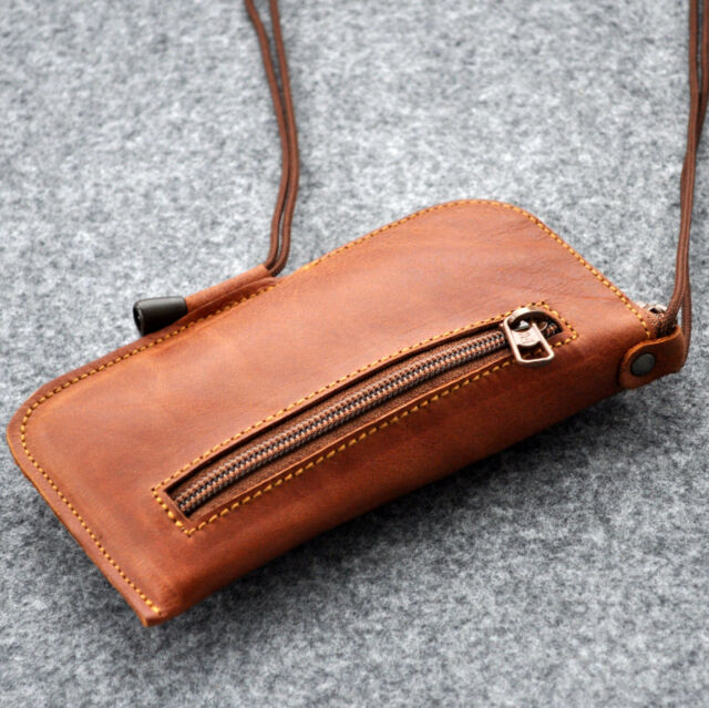 Pouch for iPhone 6 / 6s real leather case cover zipper wallet with neck strap