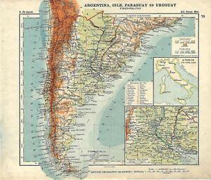 Patagonia Cartina Geografica.Carta Geografica Antica Argentina Cile Paraguay Uruguay 1914 Old Antique Map Ebay