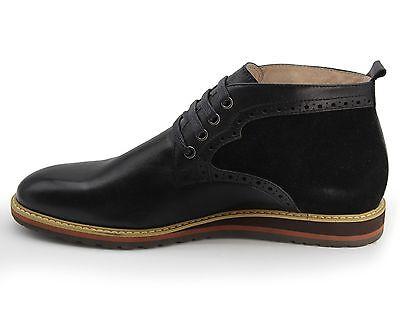 Completamente Nuevo Hombre Cuero Negro Botas Desierto De Gamuza & Size UK 6/EU 40