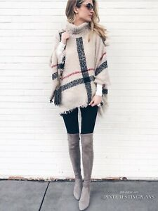 Nwt New Goodnight Macaroon Haley Plaid Checked Turtleneck Sweater Poncho Ivory Ebay Find new and preloved goodnight macaroon items at up to 70% off retail prices. ebay