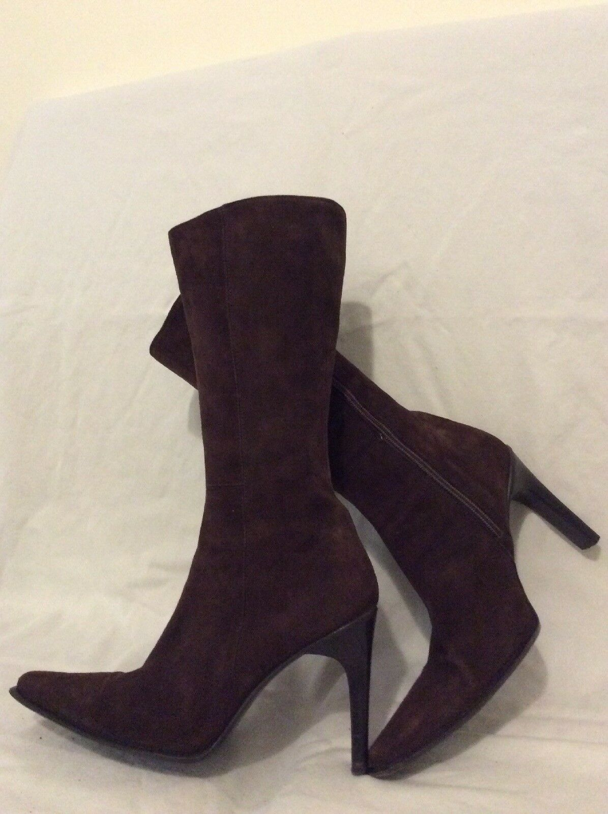 Mayis Dark Brown Mid Calf Suede Boots Size 39