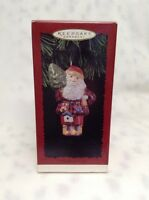 1996 Hallmark Keepsake Ornament woodland Santa Pressed Tin