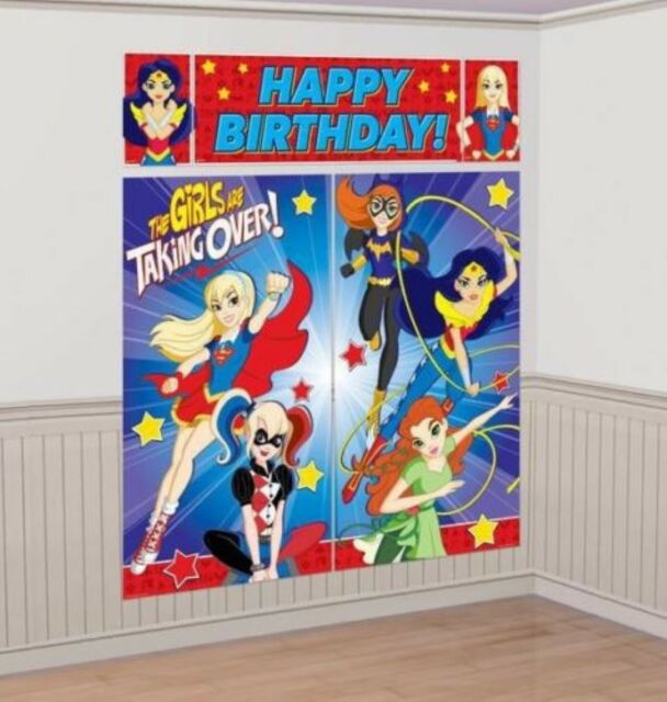 DC Super Hero Girls Scene Setter Back Drop Decorations Licensed