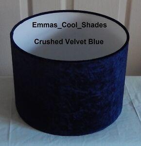 Details about Handmade Lampshade Crushed Velvet Navy Blue Fabric Drum  Lightshade Floor Lamp Da