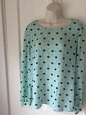 Womens Forever 21 Heart Print Long Sleeve Blouse Size Large