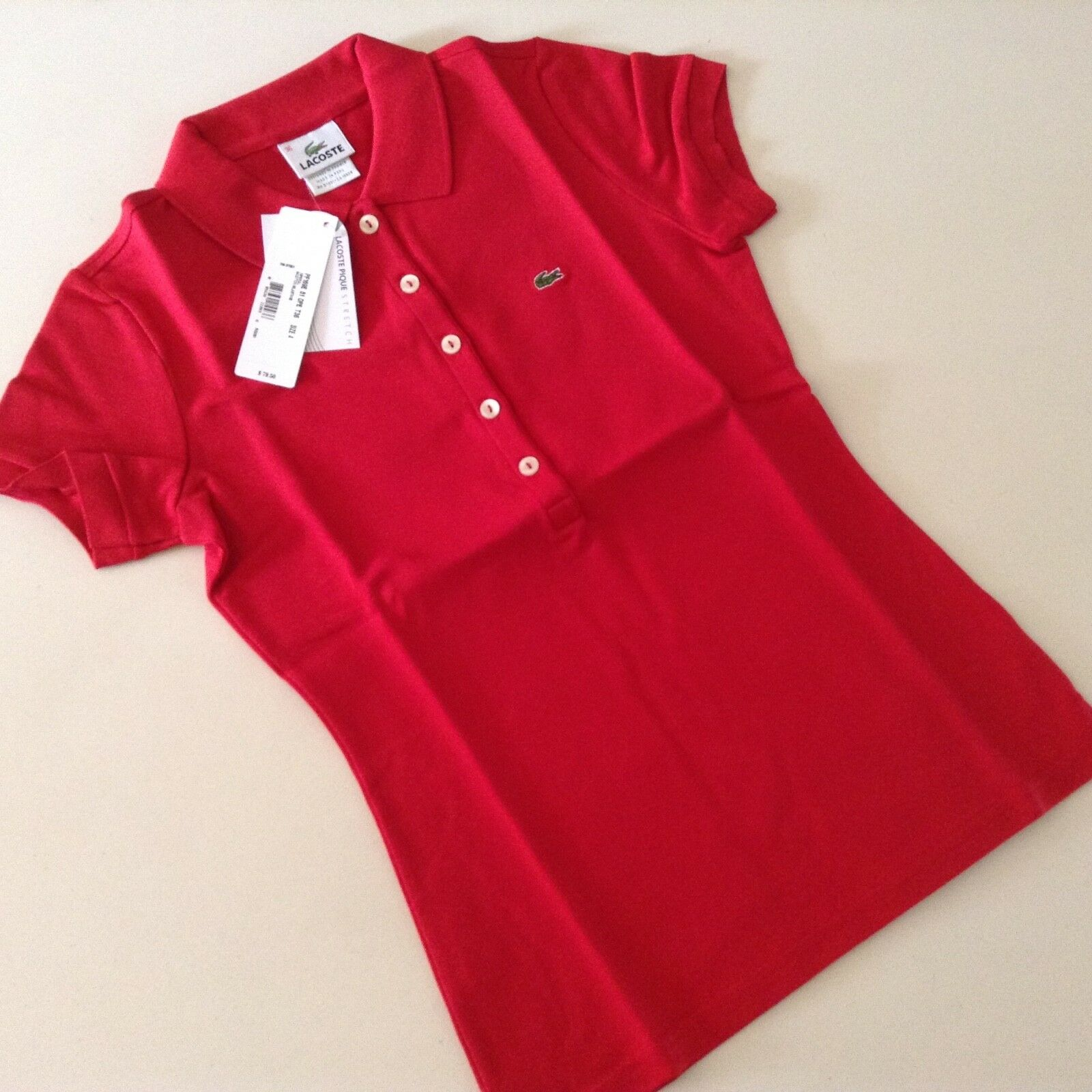 NWT Lacoste Pique Stretch Women's Polo red short sleeve