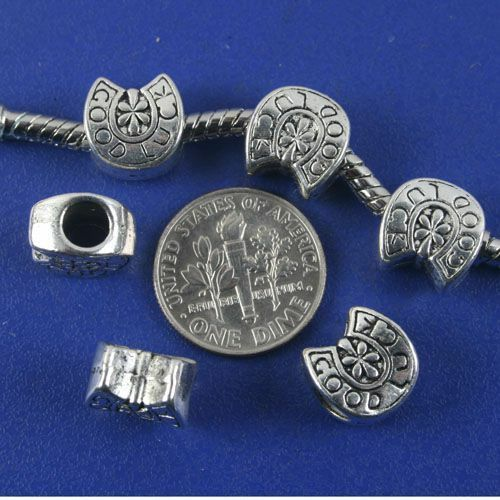 10pcs antique silver GOOD LUCK U shaped spacer beads G1308