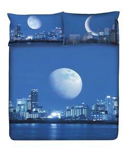 Set-Copripiumino-Lenzuola-Planet-Cosmic-Moonlight-Una-Piazza-Azzurro-Blu-Gabel