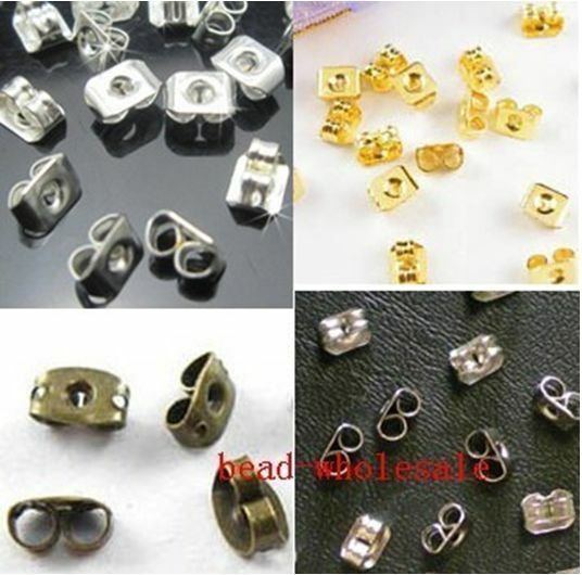 150pcs Silver/Golden/Bronze Butterfly Style Earring Back Stopper 6mm Ear Nut