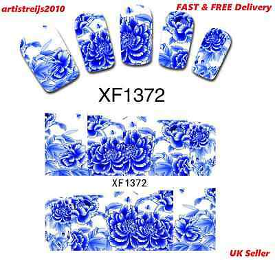 Blue Peony Flower False Nail Tips Wrap Decals Water Transfer  Stickers