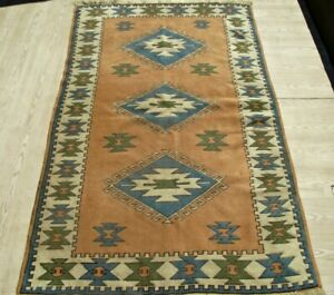 Vintage Turkish Rustic Kilim Rug 4x6 Authentic Nomadic Hand Knotted Wool Carpet