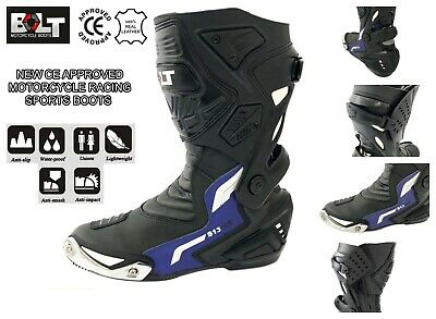 VIPER RIDER Bolt S13 Motorbike Motorcycle Leather Touring Sports Racing Waterproof Boots Black EU 43