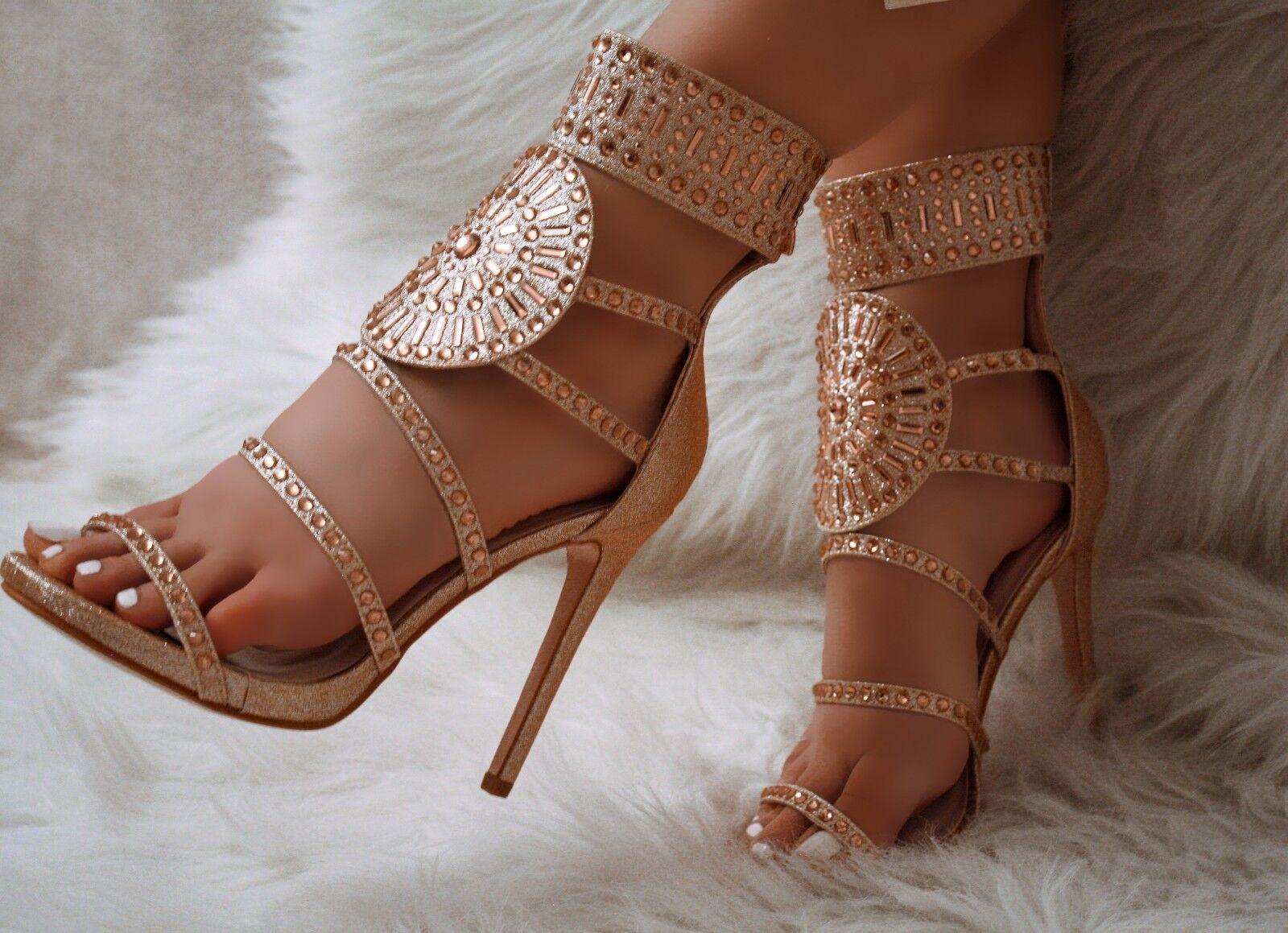 Champagne Glitter pink gold Rhinestone Decor Strappy Gladiator Heels, US 5.5-10