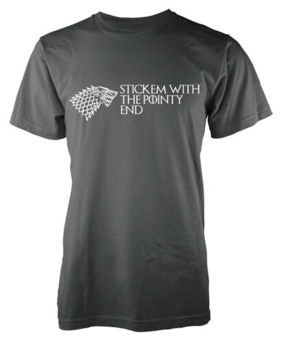 Game of Thrones Stark Wolf Stick Em With The Pointy End GOT Adult T Shirt
