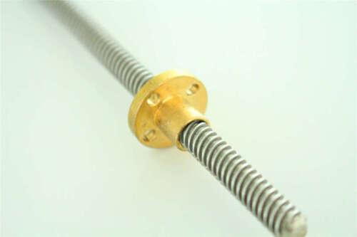 T8x1 L600-1200MM Lead Screw Pitch 1mm Lead 1mm Trapezoidal ACME Rod /& Brass Nut