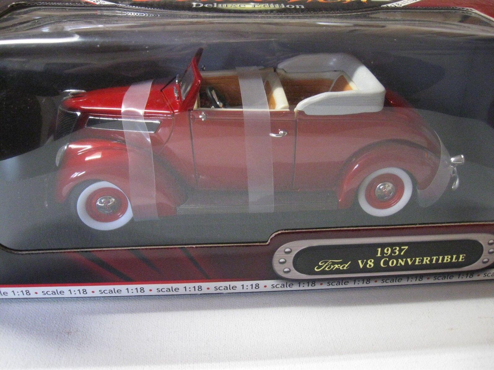 1 18 ROAD SIGNATURE SIGNATURE SIGNATURE 1937 FORD V8 CONgreenIBLE DIECAST RED 6a941f