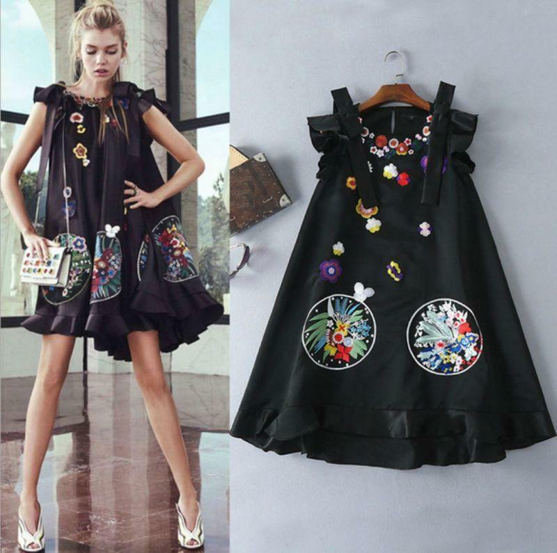 Womens Runway Dress Europe Suspender Embroidery A-type Dress Mini Skit Loose Fit