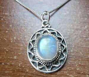 Nicely Accented Moonstone 925 Sterling Silver Pendant Corona Sun Jewelry