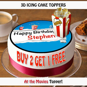 Image Is Loading 3D PERSONALISED EDIBLE Icing Cake Toppers Round Popcorn