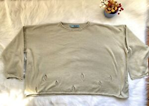 PLANET-by-LAUREN-G-Boxy-Sweater-cut-out-holes-Size-OS-Tan-Beige-Greenish-EUC