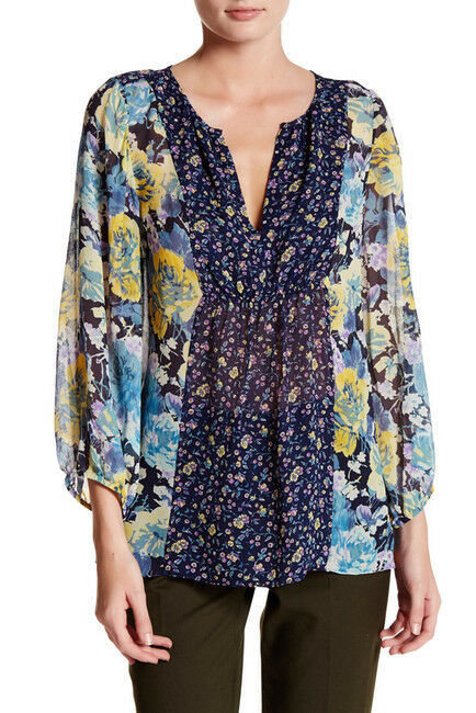 NWT JOIE THISTLE DARK NAVY SHEER  FLORAL PRINT SILK BLOUSE sz S