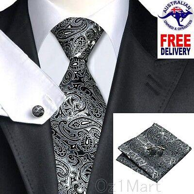 Premium Paisley Black Gray Men Tie Silk Jacquard Formal Wedding Cufflink Hanky