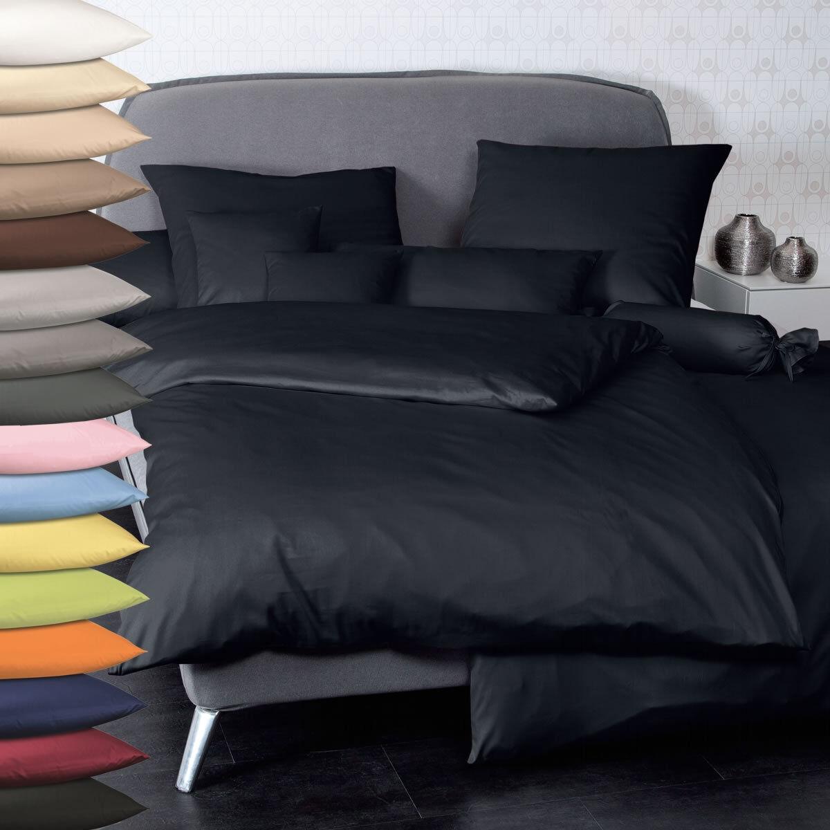 Janine Uni Mako Satin Bettwäsche Programm Farbes Design 31001 Kissenbezug