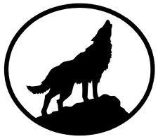 WOLF Vinyl Decal Sticker Car Window Wall Bumper Howling Oval Dog Animal Black