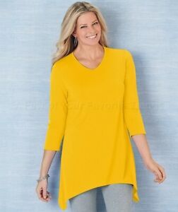 Women-039-s-V-Neck-Sharkbite-Tunic-Shirt-Top-Banana-Yellow-1X-Plus