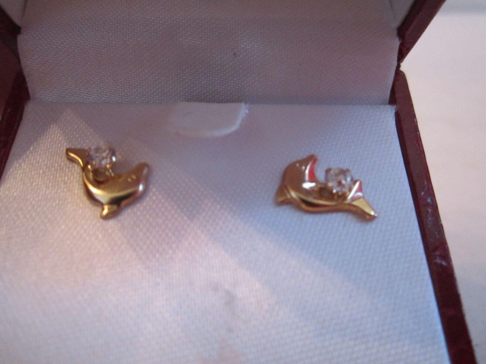 JACMEL 14K gold & DIAMOND EARRINGS - IN THE BOX - BRAND NEW