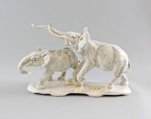 9997870-Porzellan-Figur-Ens-Elefant-Paar-Elefantengruppe-hell-19-5x32cm