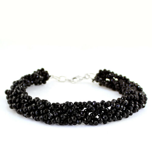 PARTY WEAR 117.00 CTS NATURAL RICH BLACK SPINEL UNTREATED FACETED BRACELETS