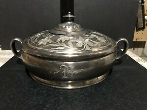 floral Homan Quadruple Silver Plate Casserole Dish Ring Insert Lid (as Is)