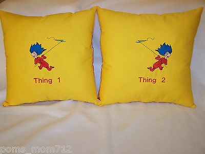 """2 PC -THING 1 THING 2  SEUSS EMBROIDERED ACCENT THROW PILLOW SHAM COVER 14"""" SET"""