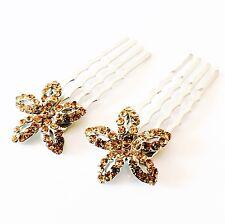 USA MINI Hair Comb Clip Hairpin use Swarovski Crystal Bridal Wedding GOLD Brown