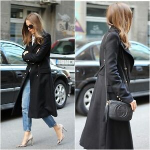 ZARA WOMAN BLACK WOOL COAT JACKET BUTTONS MILITARY STYLE DOUBLE